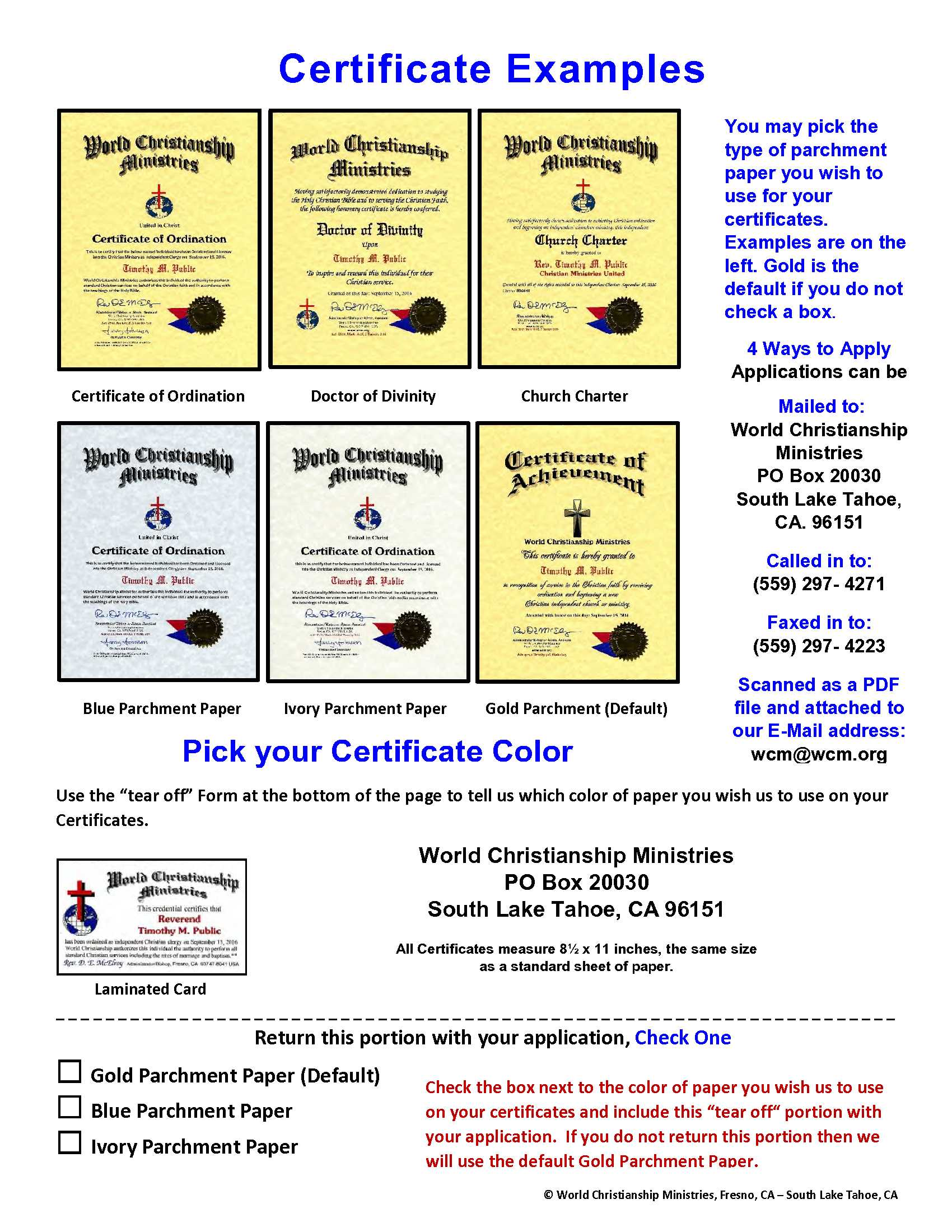 Ordination application world christianship certificate examples 1betcityfo Image collections